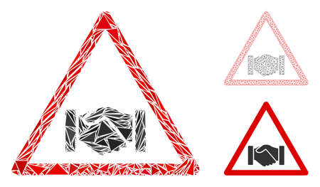 Triangle mosaic handshake warning icon with mesh vector model. Handshake warning collage icon of triangle items which have randomised sizes, and positions, and color tints.