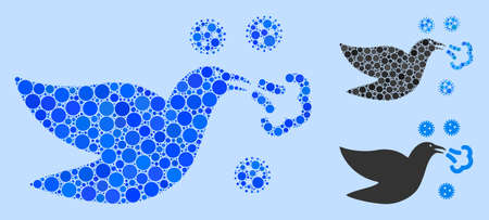 Collage Bird flu icon composed of round elements in random sizes, positions and proportions. Vector blue round dots are composed into abstract mosaic bird flu icon. Light blue background.