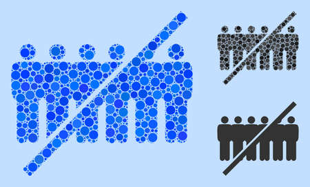 Collage No people line icon united from circle items in various sizes, positions and proportions. Vector blue round dots are grouped into abstract collage no people line icon. Light blue background.