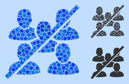 Collage No social group icon organized from spheric elements in random sizes, positions and proportions. Vector blue round parts are organized into abstract collage no social group icon.