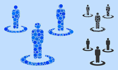Mosaic People isolation icon designed from circle items in various sizes, positions and proportions. Vector blue circle items are united into abstract composition people isolation icon. Illustration