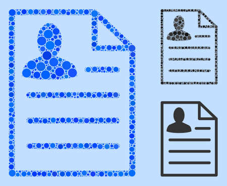 Mosaic Resume page icon organized from spheric elements in variable sizes, positions and proportions. Vector blue spheric dots are composed into abstract mosaic resume page icon. Illustration
