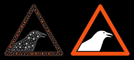 Bright mesh bird warning with glow effect. Abstract illuminated model based on bird warning icon. Shiny wire frame triangular mesh bird warning. Vector abstraction on a black background. Illustration