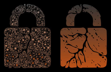 Bright mesh rust lock with glow effect. Abstract illuminated model based on rust lock icon. Shiny wire carcass polygonal network rust lock. Vector abstraction on a black background.