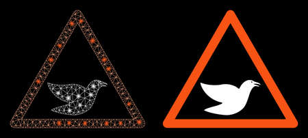 Bright mesh bird warning with glare effect. Abstract illuminated model based on bird warning icon. Shiny wire frame triangular mesh bird warning. Vector abstraction on a black background. Illustration