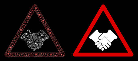 Bright mesh handshake warning with glow effect. Abstract illuminated model based on handshake warning icon. Shiny wire frame polygonal mesh handshake warning. Vector abstraction on a black background.