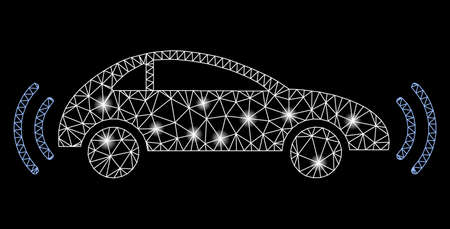 Bright mesh autonomous car with glare effect. Abstract illuminated model of autonomous car icon. Shiny wire frame triangular mesh autonomous car. Raster abstraction on a black background.