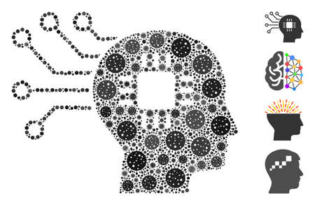 Collage brain circuit organized from flu virus icons in variable sizes and color hues. Vector pathogen elements are organized into abstract collage brain circuit icon. Some bonus icons are added. Vetores