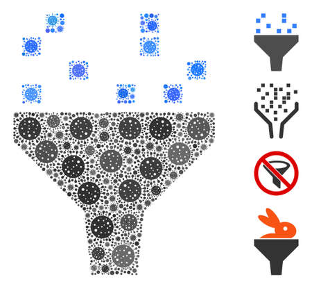 Collage data filter designed from coronavirus icons in various sizes and color hues. Vector pathogen icons are grouped into abstract mosaic data filter icon. Some bonus icons are added.