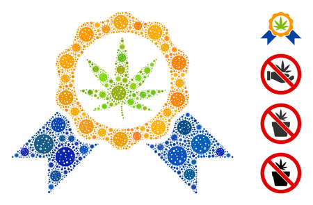 Mosaic cannabis legalize designed from covid-2019 virus icons in variable sizes and color hues. Vector infection items are grouped into abstract mosaic cannabis legalize icon.