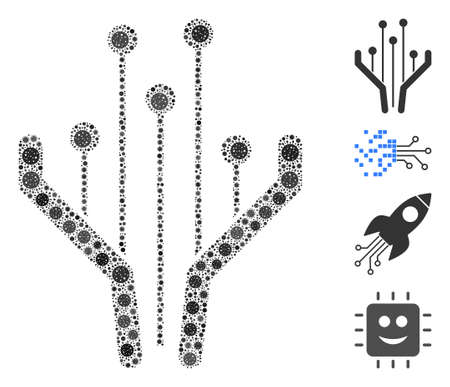 Mosaic electronic filter designed from SARS virus icons in random sizes and color hues. Vector pathogen icons are combined into abstract mosaic electronic filter icon. Some bonus icons are added.