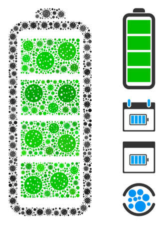 Mosaic full battery organized from SARS virus items in random sizes and color hues. Vector pathogen icons are organized into abstract mosaic full battery icon. Some bonus icons are added.