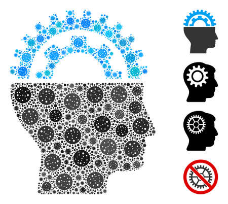Mosaic gear engineer designed from flu virus items in various sizes and color hues. Vector infection icons are grouped into abstract collage gear engineer icon. Some bonus icons are added.