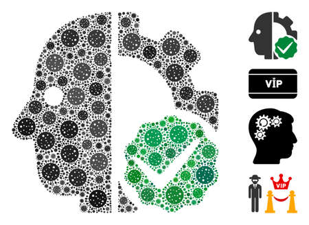 Mosaic for cyborgs only composed of covid-2019 virus elements in different sizes and color hues. Vector pathogen icons are grouped into abstract mosaic for cyborgs only icon.