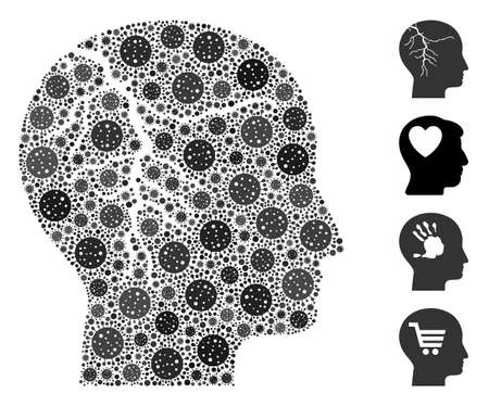 Collage head cancer composed of coronavirus items in variable sizes and color hues. Vector viral items are composed into abstract composition head cancer icon. Some bonus icons are added. Illustration