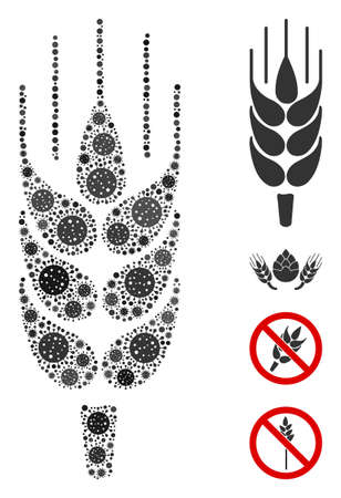 Mosaic barley ear composed of flu virus icons in variable sizes and color hues. Vector pathogen icons are combined into abstract illustration barley ear icon. Some bonus icons are added.