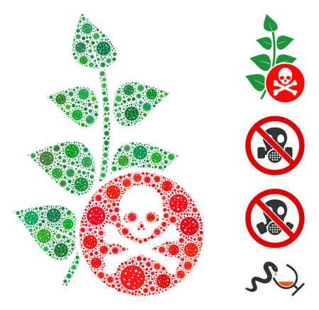 Mosaic herbicide toxin organized from SARS virus icons in various sizes and color hues. Vector pathogen icons are composed into abstract collage herbicide toxin icon. Some bonus icons are added.
