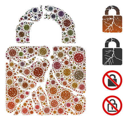 Collage rust lock designed from coronavirus elements in different sizes and color hues. Vector viral icons are combined into abstract collage rust lock icon. Some bonus icons are added. 向量圖像
