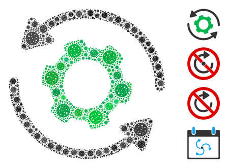 Collage infinite rotation composed of SARS virus items in different sizes and color hues. Vector pathogen items are combined into abstract collage infinite rotation icon. Some bonus icons are added. Stock Illustratie
