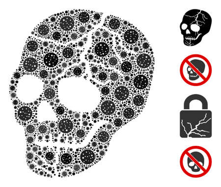 Mosaic old skull composed of flu virus icons in different sizes and color hues. Vector pathogen icons are grouped into abstract mosaic old skull icon. Some bonus icons are added.