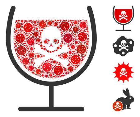 Collage poison drink glass designed from covid-2019 virus icons in various sizes and color hues. Vector viral icons are combined into abstract illustration poison drink glass icon. 向量圖像