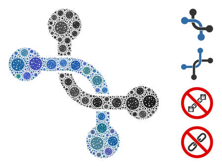 Mosaic overpass connection organized from coronavirus elements in variable sizes and color hues. Vector pathogen elements are organized into abstract mosaic overpass connection icon. Illustration