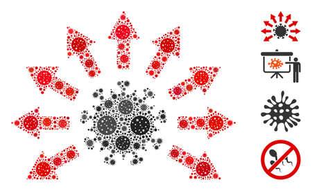 Collage virus distribution organized from flu virus icons in random sizes and color hues. Vector infection icons are composed into abstract collage virus distribution icon. Some bonus icons are added. 向量圖像
