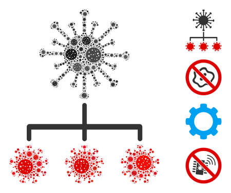 Mosaic virus replication constructed from SARS virus items in various sizes and color hues. Vector pathogen icons are combined into abstract mosaic virus replication icon. Some bonus icons are added.