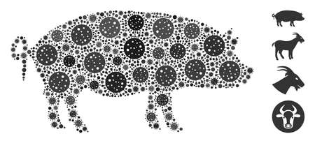 Mosaic swine constructed from coronavirus icons in different sizes and color hues. Vector infection icons are composed into abstract mosaic swine icon. Some bonus icons are added.