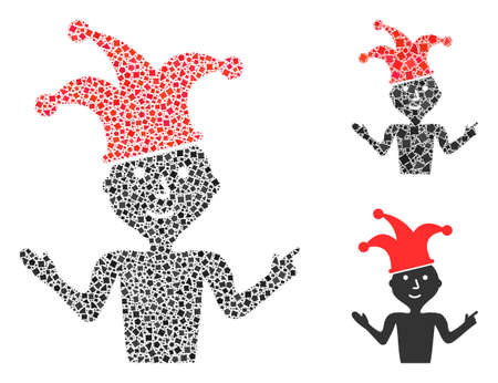 Mosaic Sarcasm icon constructed from bumpy elements in variable sizes, positions and proportions. Vector raggy dots are united into abstract mosaic sarcasm icon. Illustration