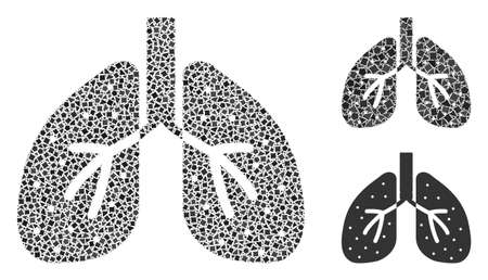 Collage Lungs icon constructed from trembly parts in random sizes, positions and proportions. Vector trembly parts are grouped into abstract composition lungs icon.