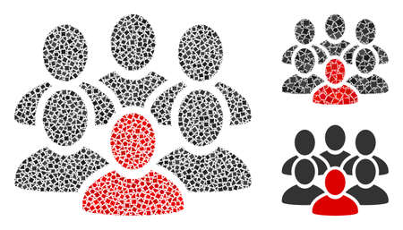 Mosaic People crowd icon composed of irregular spots in variable sizes, positions and proportions. Vector ragged parts are composed into abstract illustration people crowd icon. 矢量图像