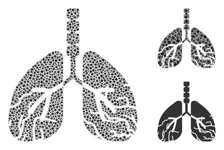 Collage Lungs cancer icon united from bumpy spots in different sizes, positions and proportions. Vector trembly spots are arranged into abstract mosaic lungs cancer icon. 矢量图像