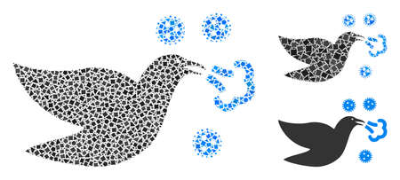 Mosaic Bird flu icon organized from tremulant items in various sizes, positions and proportions. Vector raggy spots are combined into abstract mosaic bird flu icon.
