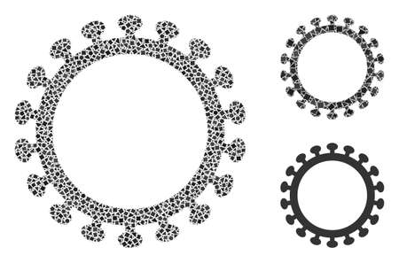 Mosaic Virus shell icon designed from tremulant items in various sizes, positions and proportions. Vector unequal elements are combined into abstract mosaic virus shell icon.