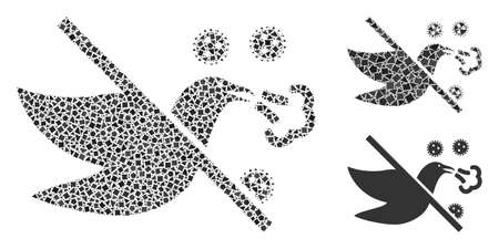 Mosaic No bird flu icon constructed from uneven spots in different sizes, positions and proportions. Vector uneven pieces are combined into abstract composition no bird flu icon.