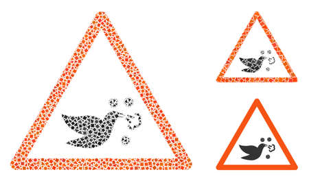 Mosaic Bird flu warning icon united from humpy parts in different sizes, positions and proportions. Vector uneven pieces are united into abstract mosaic bird flu warning icon.