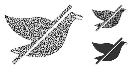 Collage No bird icon united from bumpy pieces in random sizes, positions and proportions. Vector bumpy items are combined into abstract mosaic no bird icon. Abstract mosaic based on No bird pictogram. 矢量图像