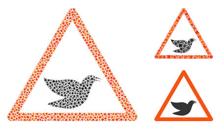 Mosaic Bird warning icon designed from joggly parts in various sizes, positions and proportions. Vector abrupt pieces are combined into abstract mosaic bird warning icon.