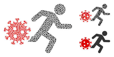 Mosaic Running man from coronavirus icon organized from bumpy spots in random sizes, positions and proportions. 矢量图像