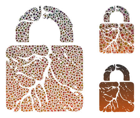 Mosaic Rust lock icon designed from raggy items in different sizes, positions and proportions. Vector bumpy items are grouped into abstract mosaic rust lock icon. 向量圖像