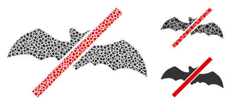 Mosaic No bats icon composed of rugged items in different sizes, positions and proportions. Vector tremulant dots are combined into abstract mosaic no bats icon. 矢量图像