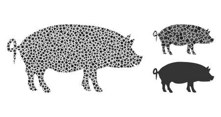 Mosaic Swine icon united from uneven spots in different sizes, positions and proportions. Vector trembly pieces are united into abstract mosaic swine icon. Abstract mosaic based on Swine pictogram.