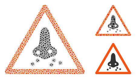 Mosaic Respiratory infection warning icon constructed from ragged spots in variable sizes, positions and proportions.
