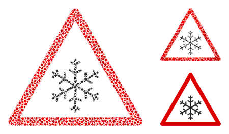 Mosaic Snow warning icon designed from raggy items in different sizes, positions and proportions. Vector bumpy items are grouped into abstract mosaic snow warning icon.
