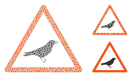 Collage Bird warning icon united from trembly items in different sizes, positions and proportions. Vector raggy pieces are united into abstract collage bird warning icon.