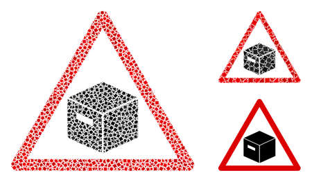 Mosaic Parcel warning icon constructed from bumpy spots in different sizes, positions and proportions. Vector rough spots are grouped into abstract mosaic parcel warning icon.