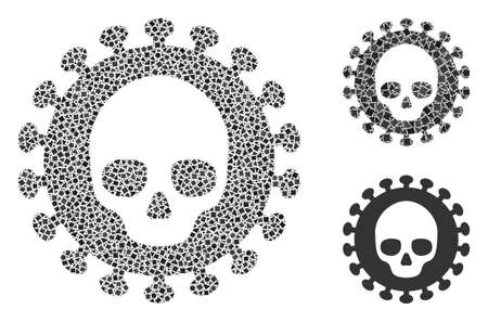 Collage Mortal virus icon constructed from tremulant pieces in different sizes, positions and proportions. Vector irregular pieces are organized into abstract illustration mortal virus icon. Stock Illustratie