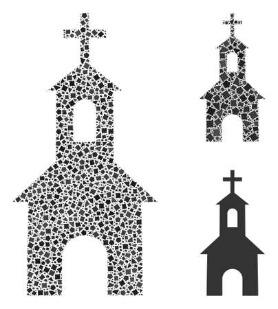 Mosaic Catholic church icon constructed from raggy items in variable sizes, positions and proportions. Vector raggy elements are combined into abstract composition catholic church icon.