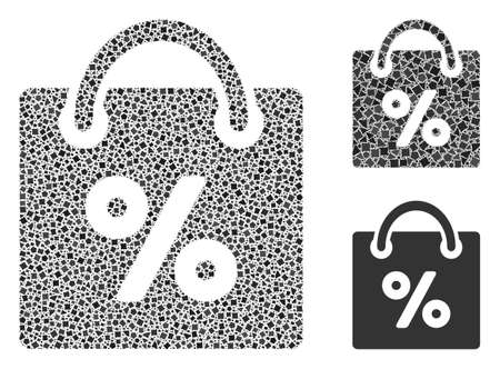 Collage Shopping discount icon organized from joggly spots in different sizes, positions and proportions. Vector joggly parts are organized into abstract mosaic shopping discount icon.